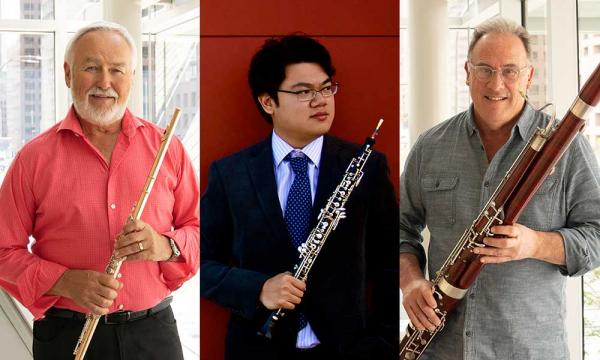 Three men, holding a flute, an oboe, and a bassoon, respectively.