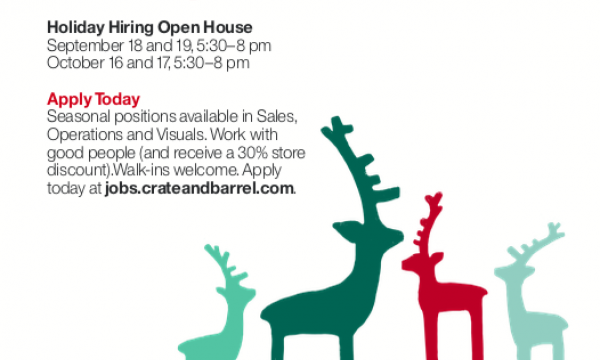 Crate and Barrel Holiday Hiring Open House - October 16 and 17, 5:30 - 8pm