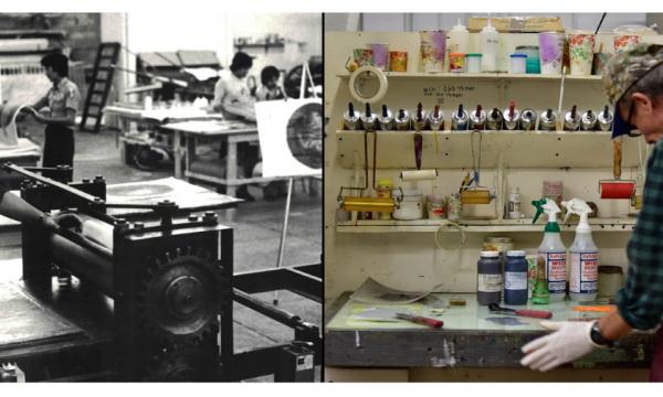 Left: Master Printer inking a plate, Taller de Grafica Mexicana; bottom right: Master Printer Rodrigo Montoya preparing inks, Mixografia in Los Angeles.