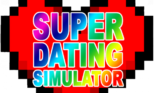 """A pixelated heart that reads """"Super Dating Simulator"""" in rainbow text"""