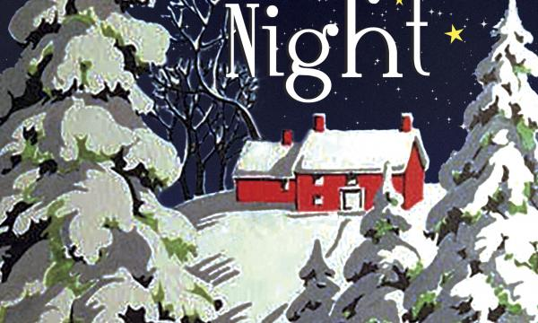 """The text """"Angel City Chorale Presents Starry Starry Night""""is on a background of a snow covered house and trees."""