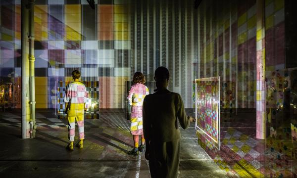 Image credit: Jennifer West, Flashlight Filmstrip Projections, 2016, installation view, 35 and 70mm filmstrips, ink, dye, plexiglas, flashlights. Courtesy of the artist and Tramway, Glasgow. Photo by Keith Hunter.