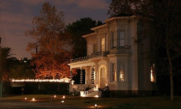Explore Heritage Square at night during annual Lamplight Celebrations