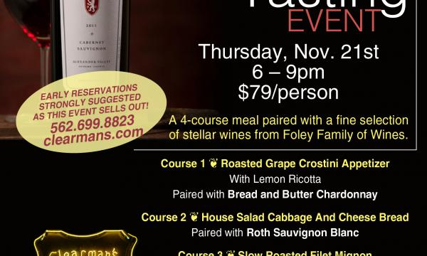 Steak 'n Stein hosts final Wine Tasting Event of 2020 on Nov. 21