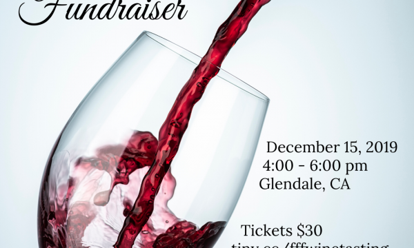 Wine glass with the link to purchase tickets:  tiny.cc/fffwinetasting