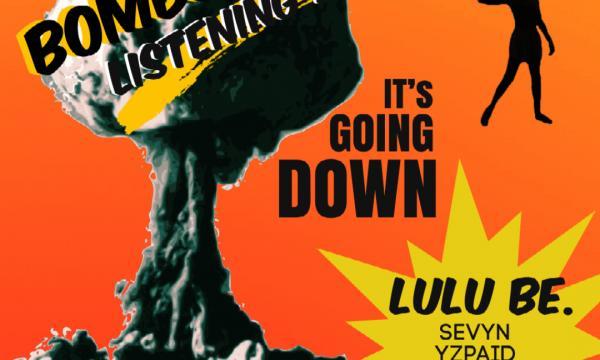 BOMBSHELTER event flyer inspired by atomic bomb propaganda.