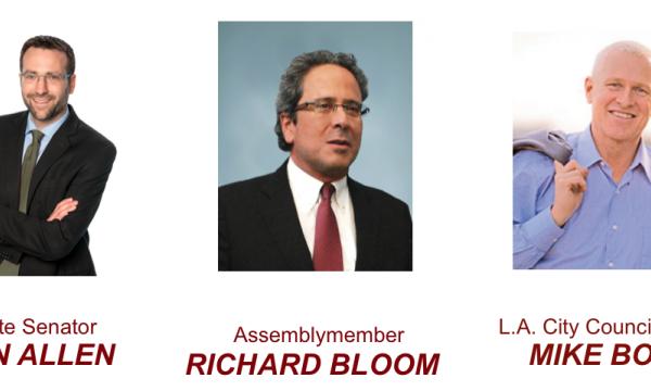 Pics of Sen. Allen, Assemb. Bloom, Councilmember Bonin