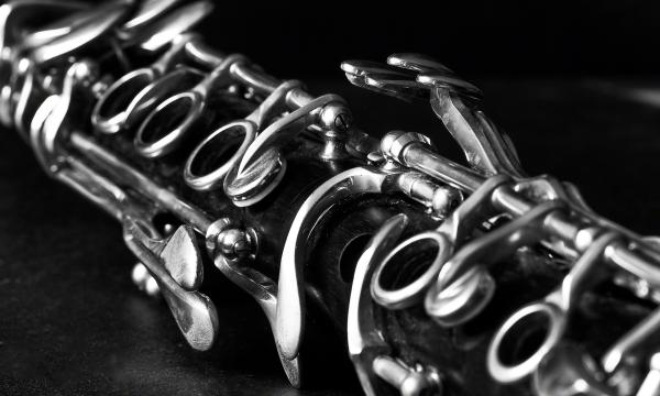 closeup of a clarinet in black and white