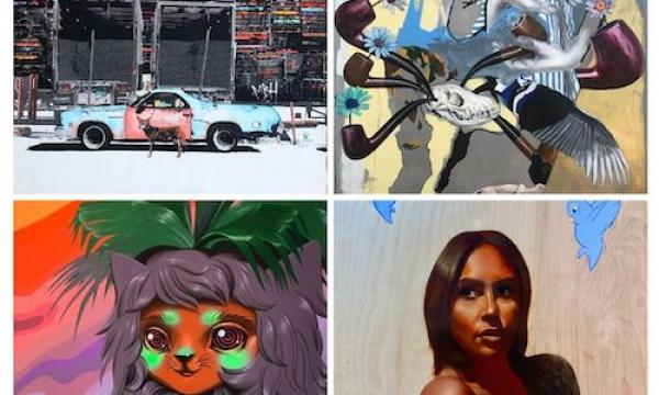 Montage of four artworks, 1 by each featured artist, L-R/ T-B: Patrick Haemmerlein, Bobby Moore, Allison Bamcat, and Isaac Pelayo.