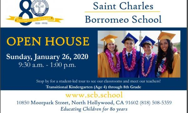 St Charles Borromeo School Open House (Sun, Jan 26)