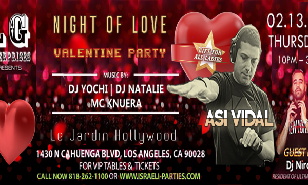 Valentine Day Party, Night Of Love, Asi Vidal, Le Jardin
