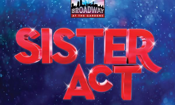 "Large, blocky red letters that say ""Sister Act"" against a blue, shimmering background."