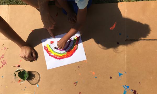 Parent and child making art