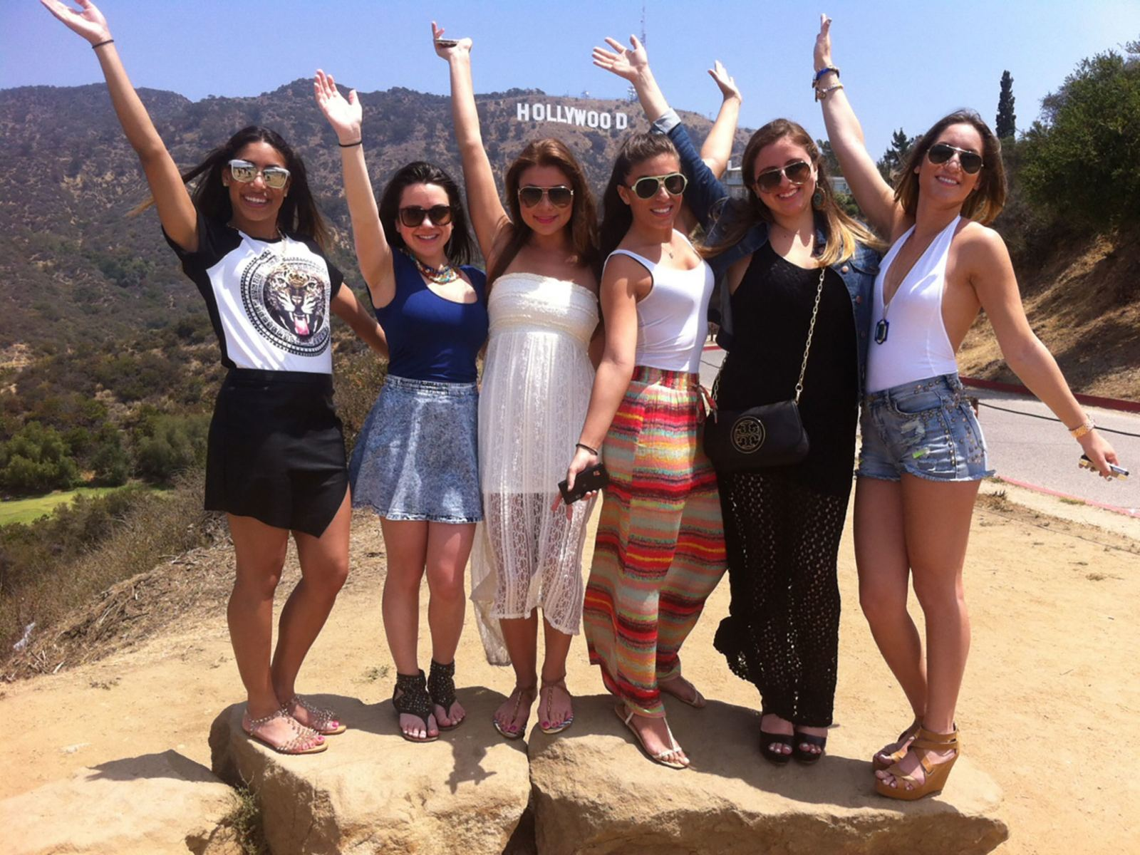 Six-Girls-waving-Hollywood-Sign-LATCB