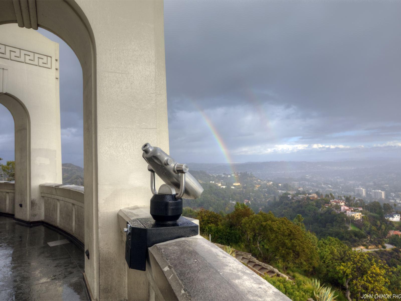 Rainbow Clouds Rain Telescope Griffith Observatory
