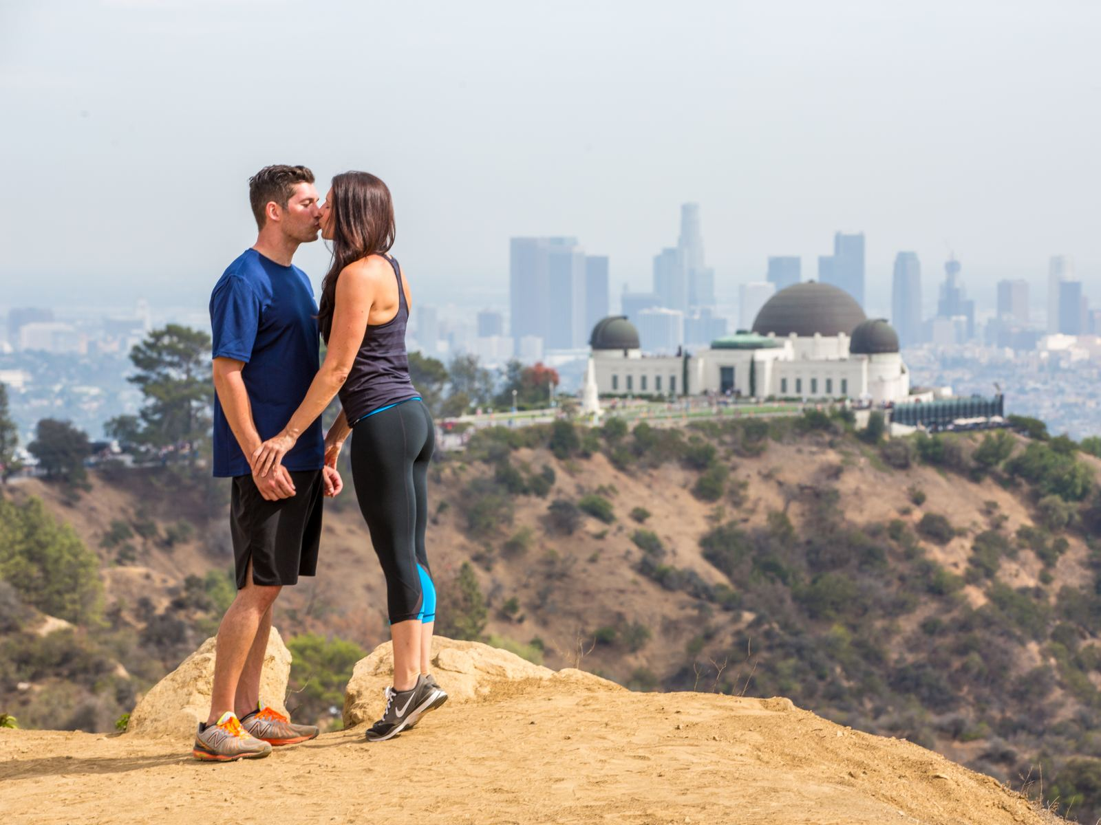 Griffith Park Observatory Couple Hiking Kiss