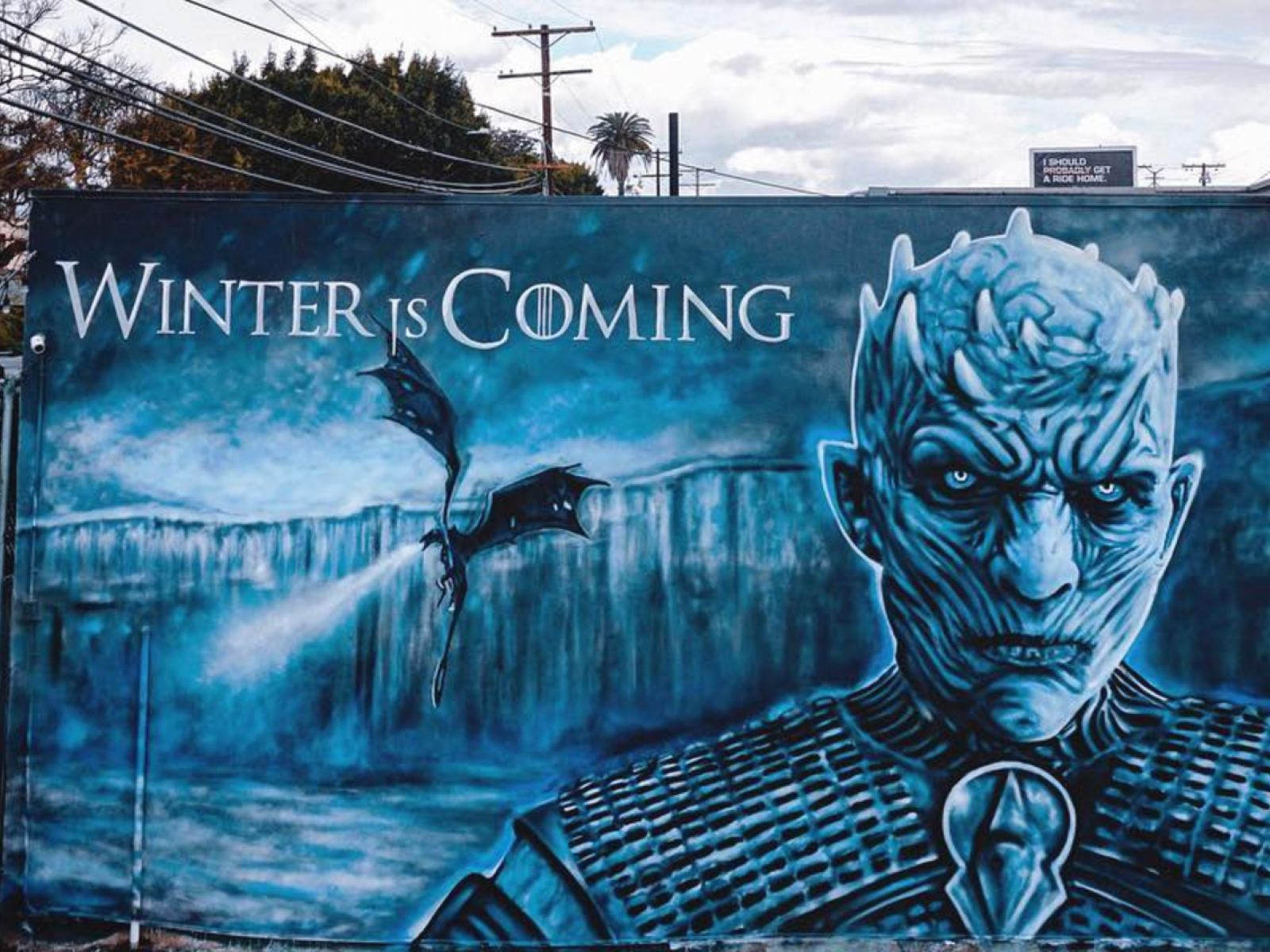 fd67e508993a Game of Thrones Night King mural by Jonas Never at Brennan's | Photo:  @never1959, Instagram