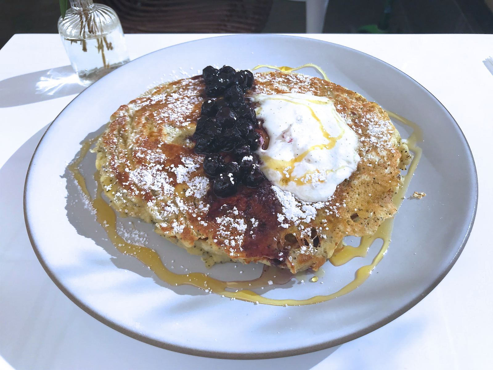 Lemon & poppy seed pancakes at Pollen