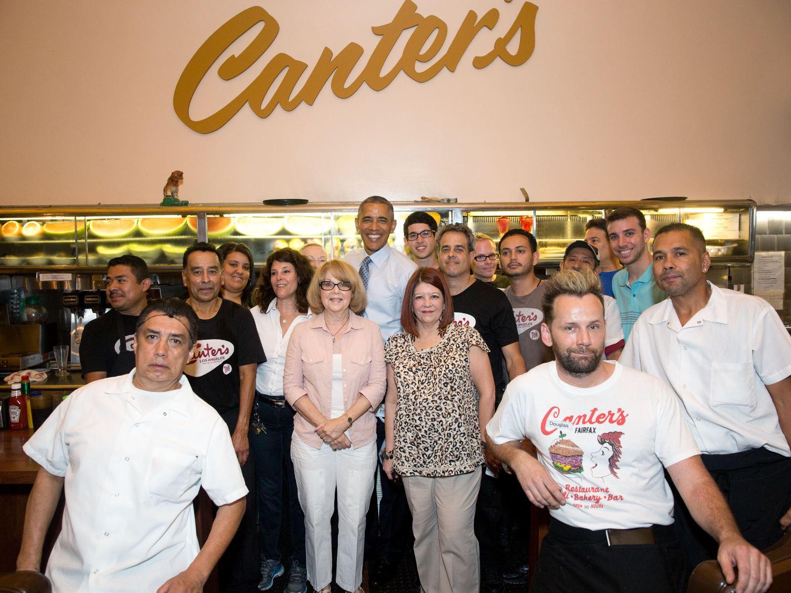 President Barack Obama Canter's Deli group photo