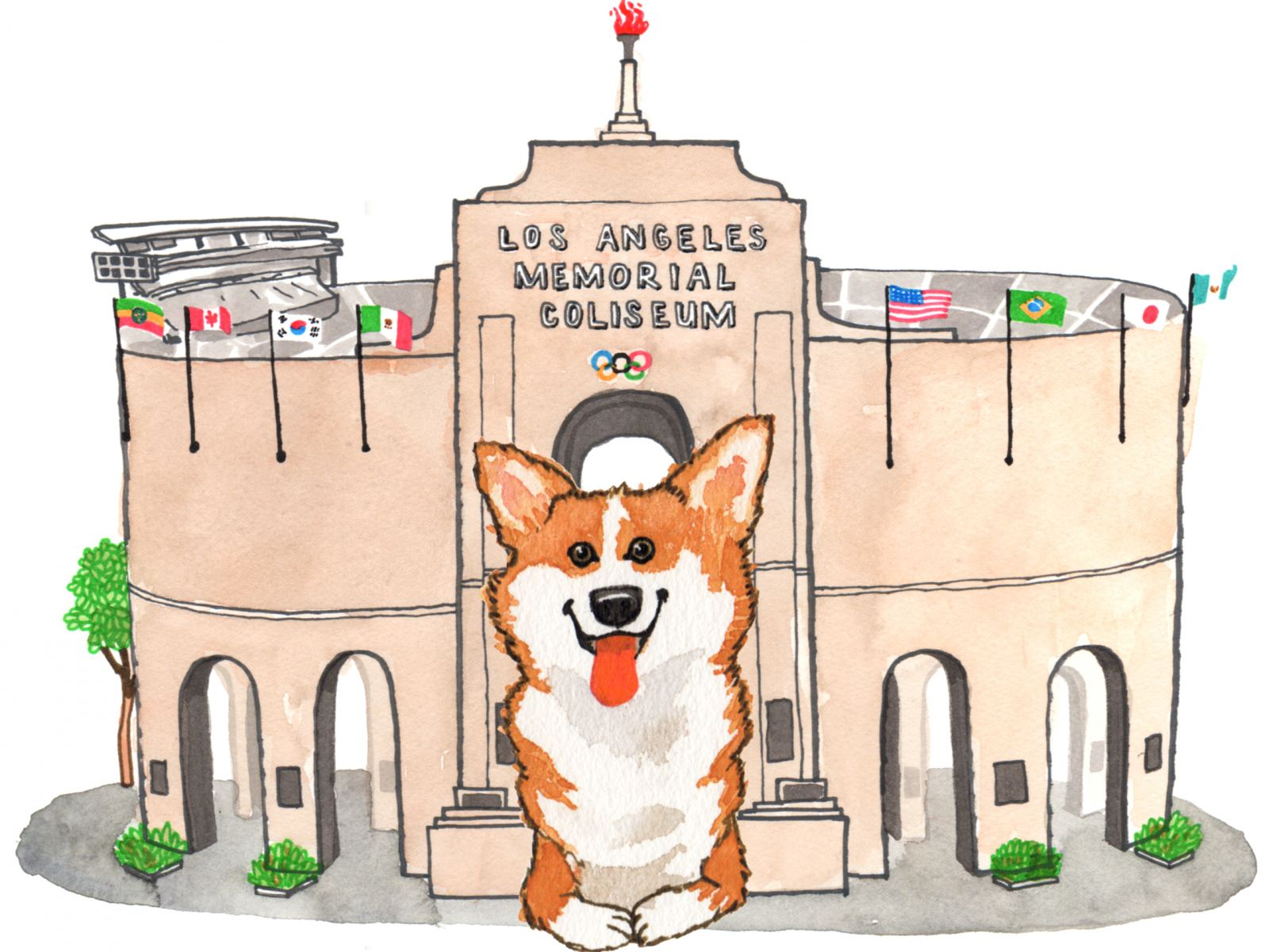 Corgi at the Coliseum | Illustration by Max Kornell