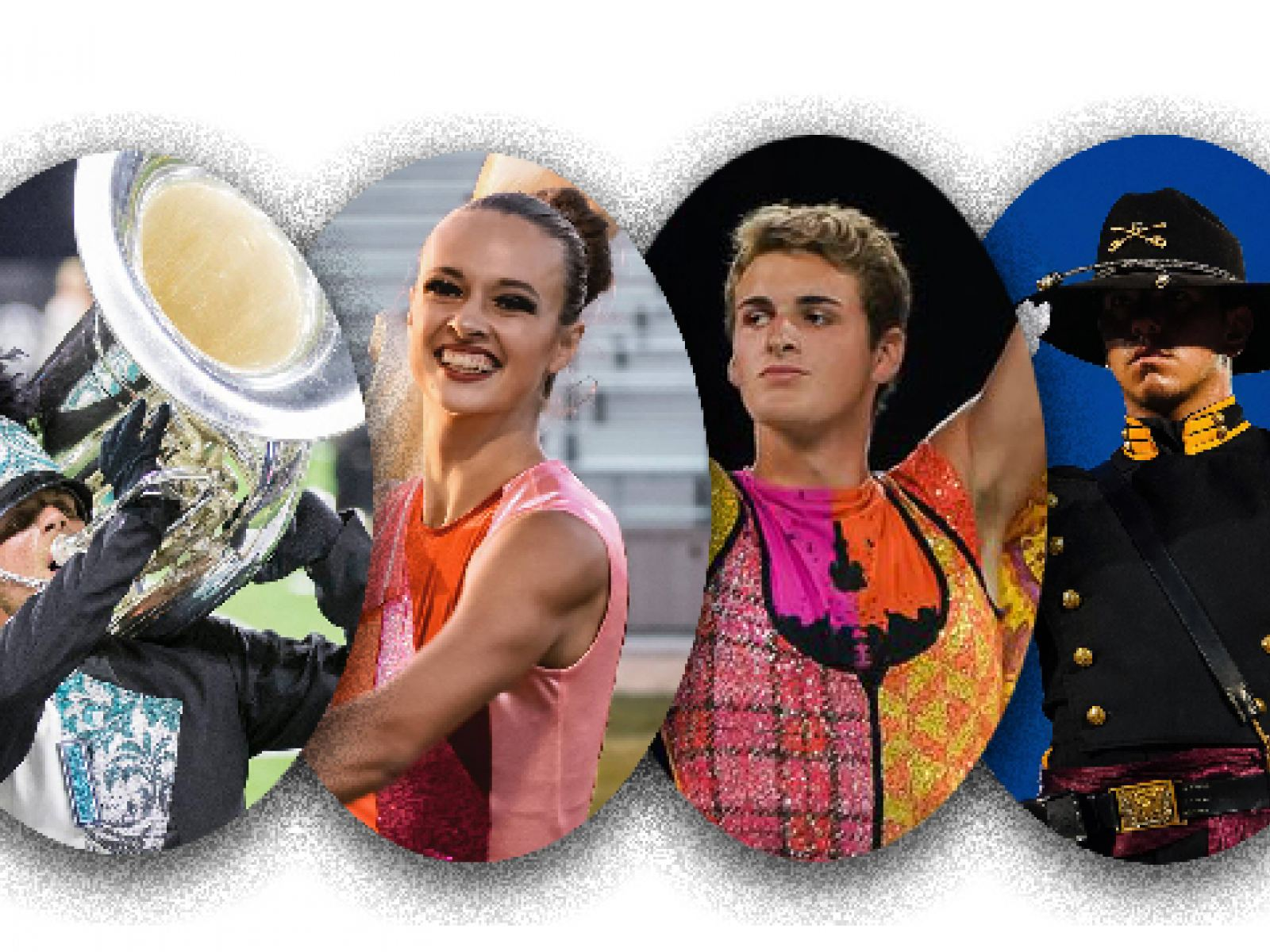 Images of drum and bugle corps performers