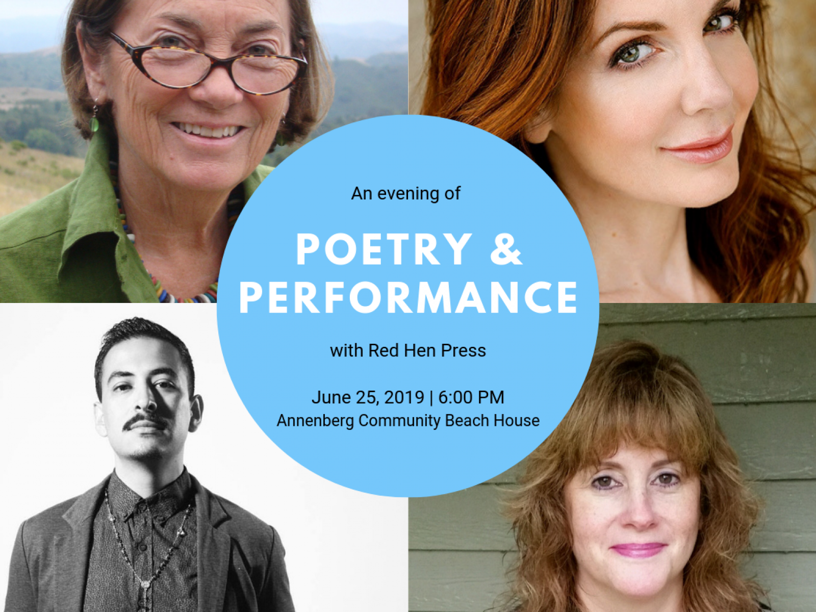 Four photographs of authors with text in center listing event details.