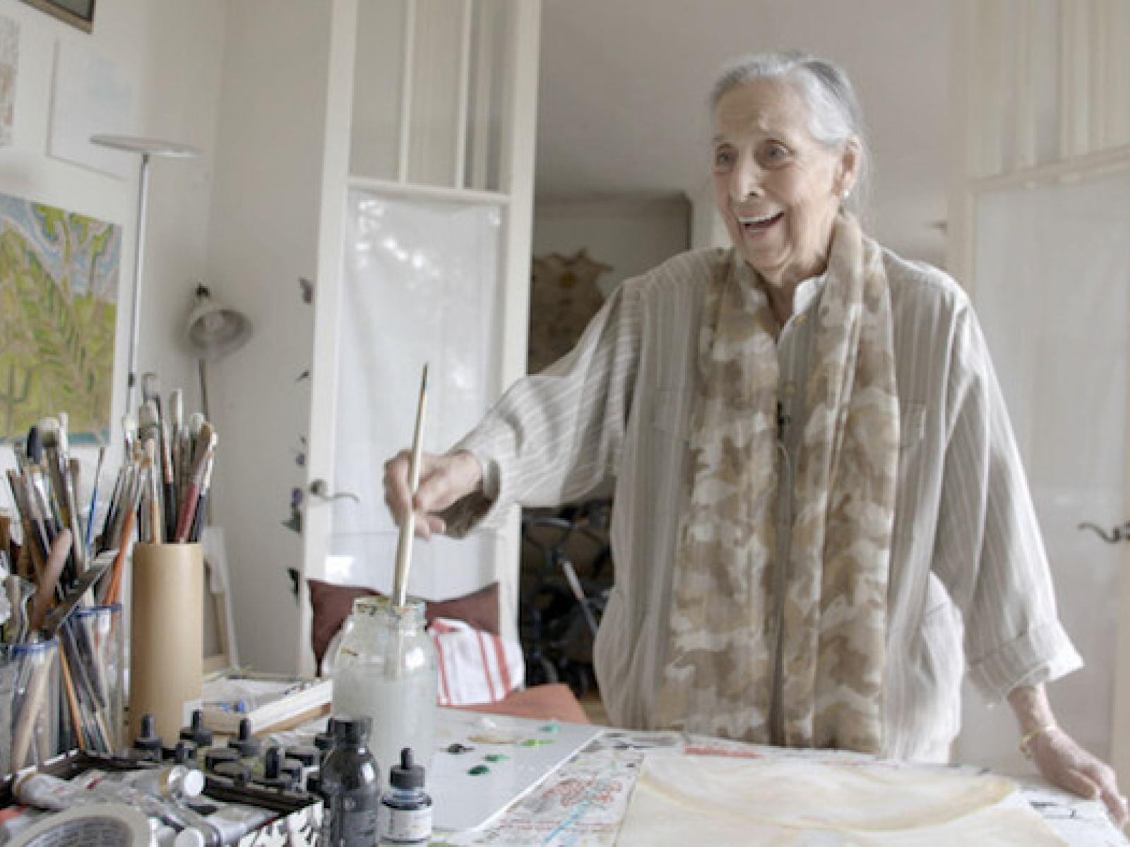 Luchita Hurtado at work in her studio, Santa Monica, California, 2019. Production still from the Art21 'Extended Play' film. © Art21 Inc., 2019.