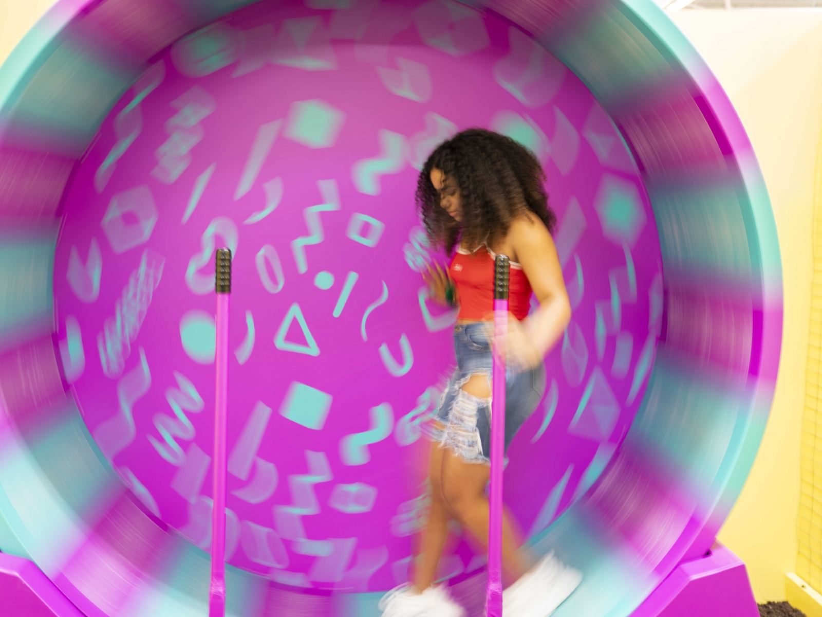 Human Hamster Wheel at PetPop Los Angeles