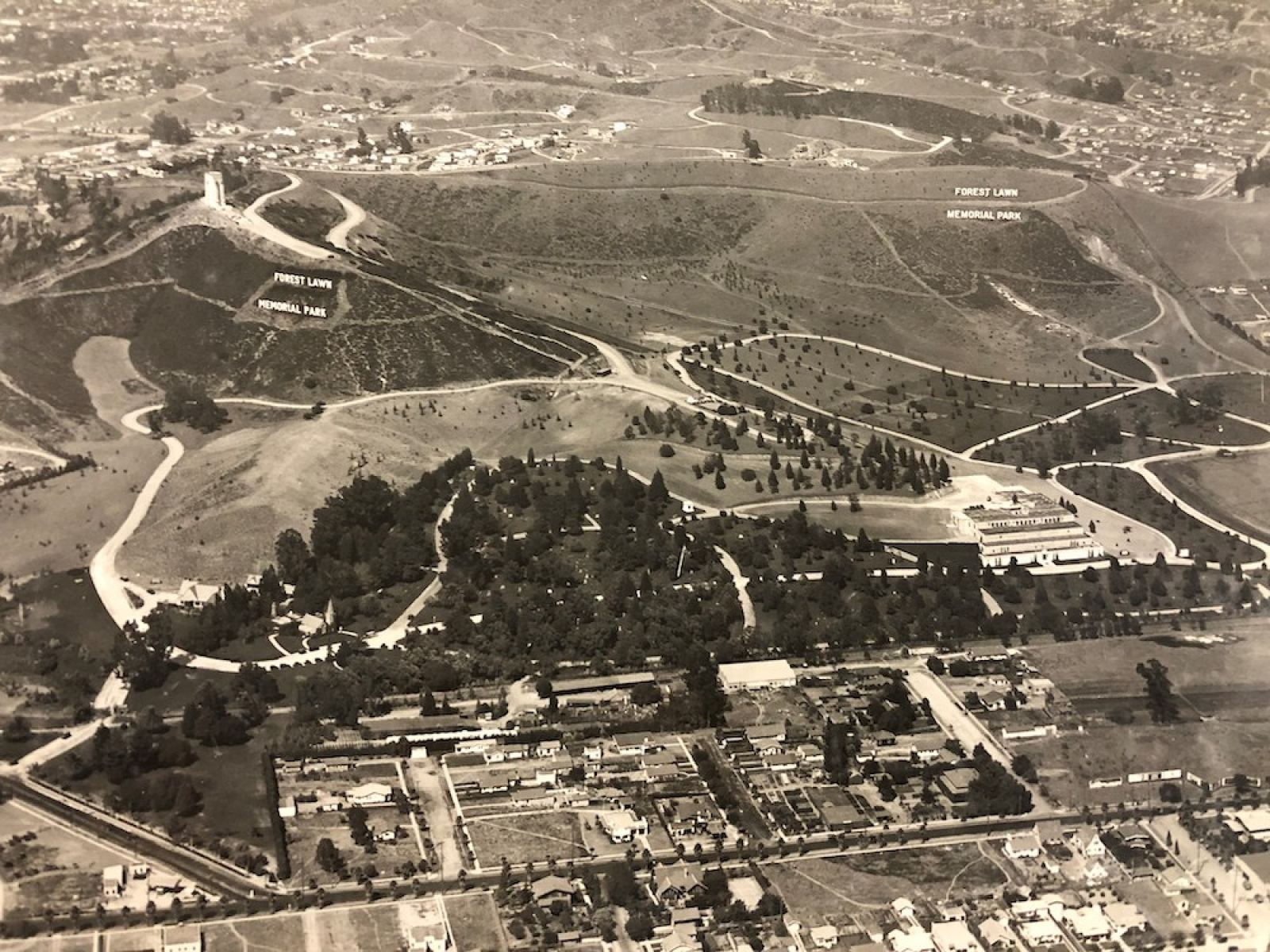 Spence Airplane Photos, Forest Lawn Memorial Park, 1925 (taken on July 16, 1925). Photograph, 16 x 20 inches. Forest Lawn Museum Permanent Collection