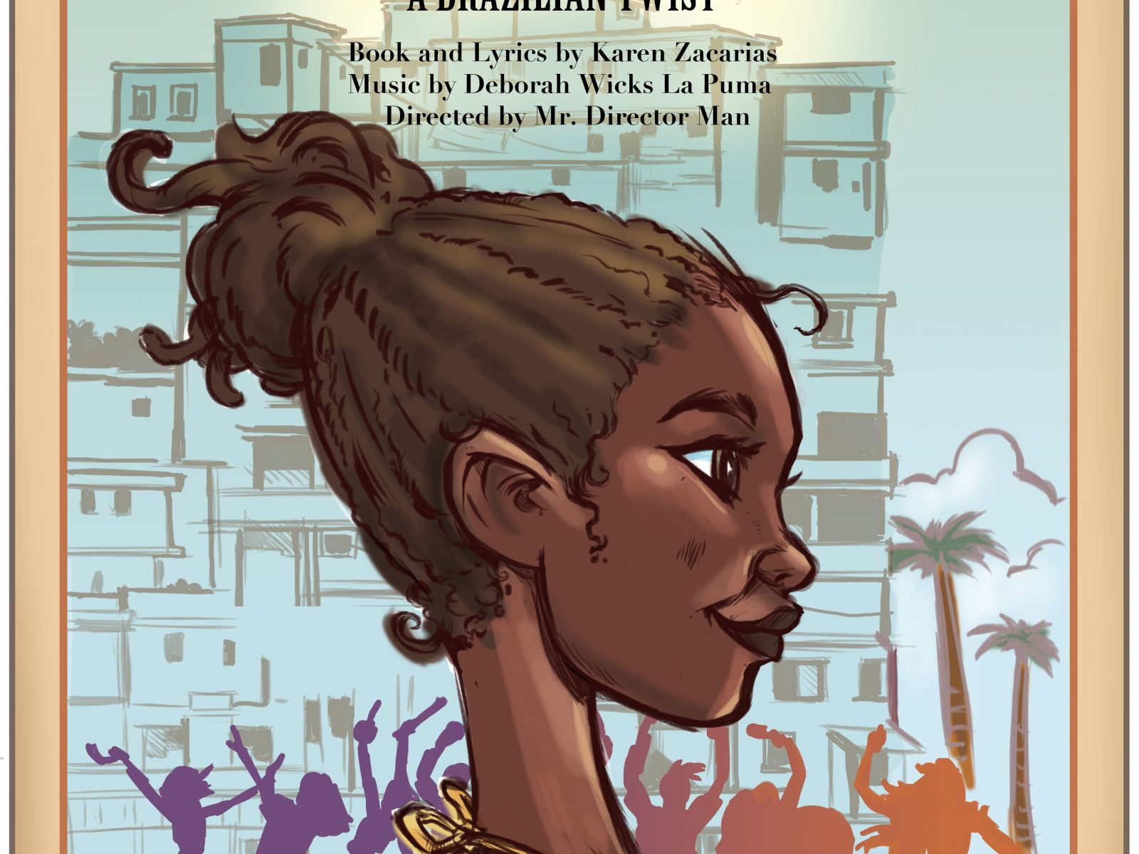 Illustration of the plucky protagonist, Oli-- an orphan girl in Rio de Janeiro.