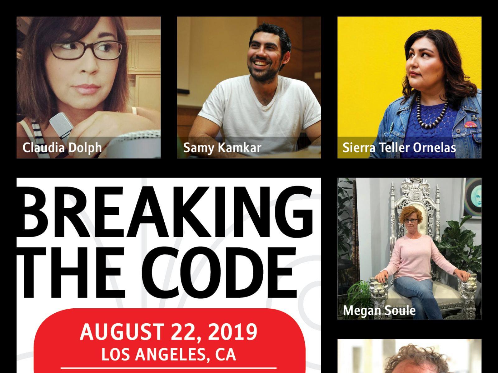 Los Angeles Story Collider storytellers for August 22, 2019. Claudia Dolph, Samy Kamkar, Sierra Teller Ornelas, Megan Whyte Soule and Derek Traub.