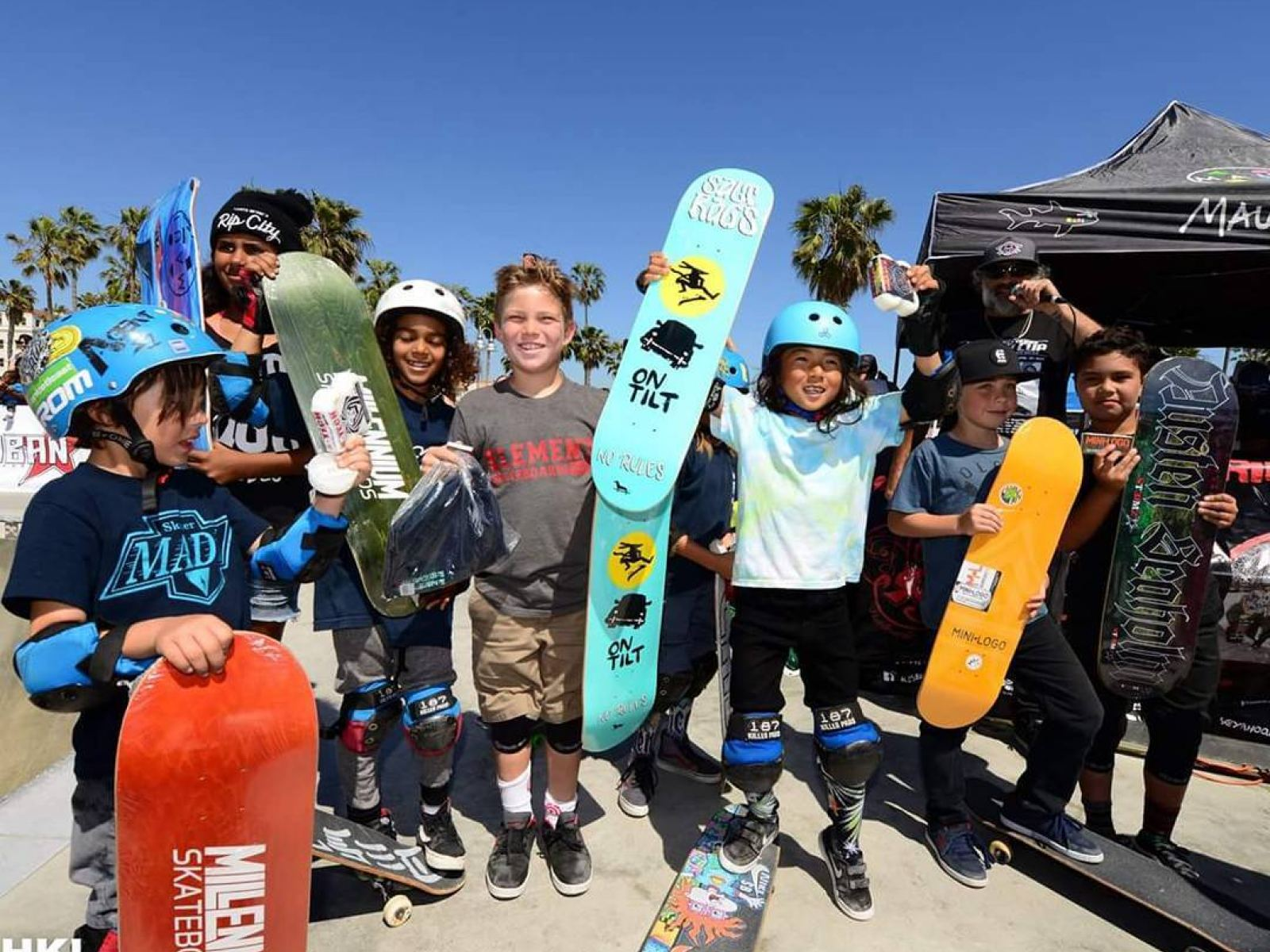 Young skateboarders at Venice Beach Skate Park