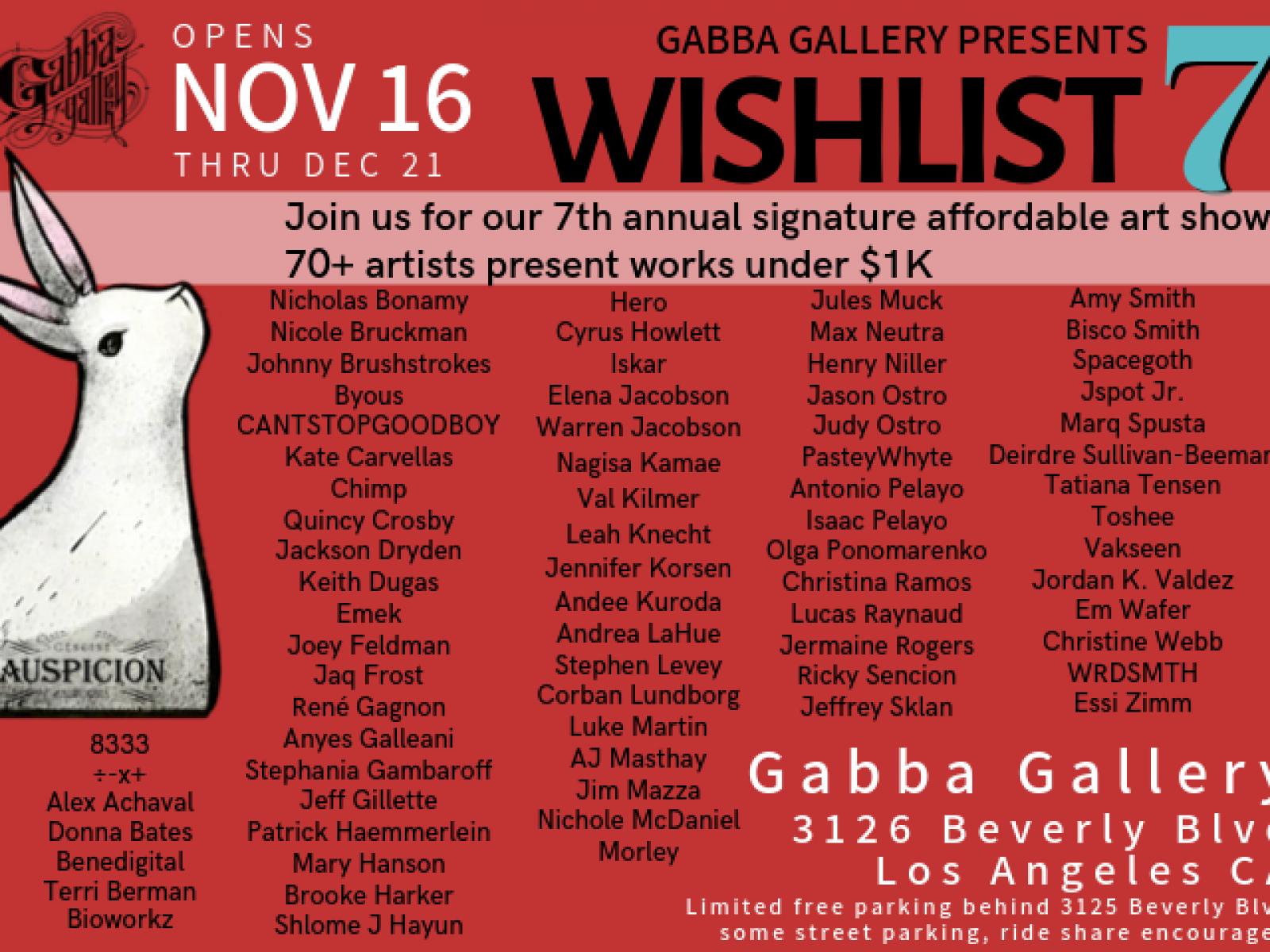 Wishlist 7, flyer back, artists names listed.