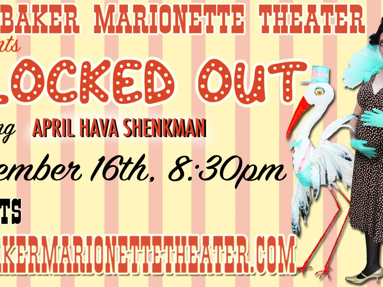 April Hava Shenkman's comedy Special FLOCKED OUT November 16th at Bob Baker Marionette Theater