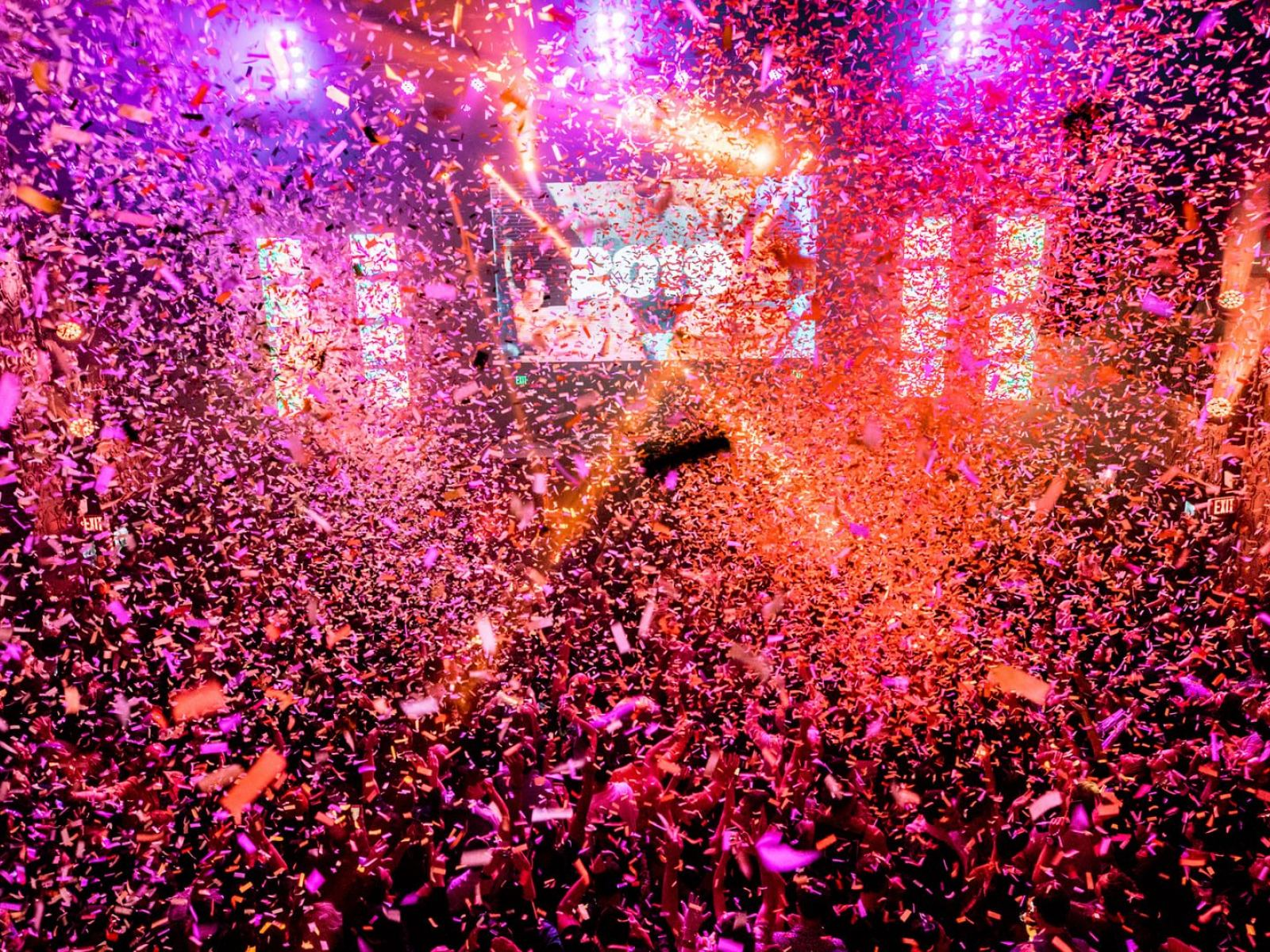 Happy New Year confetti explosion at Minimal Effort NYE 2019