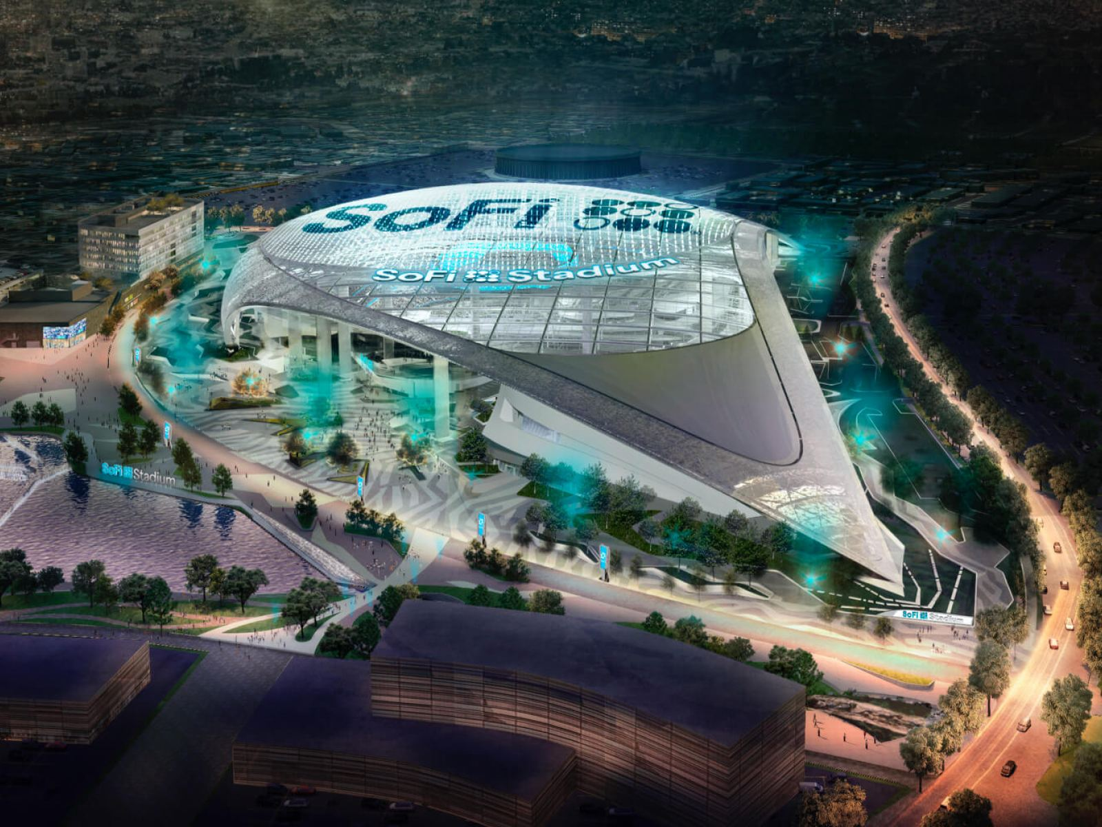 Rendering of SoFi Stadium in Inglewood