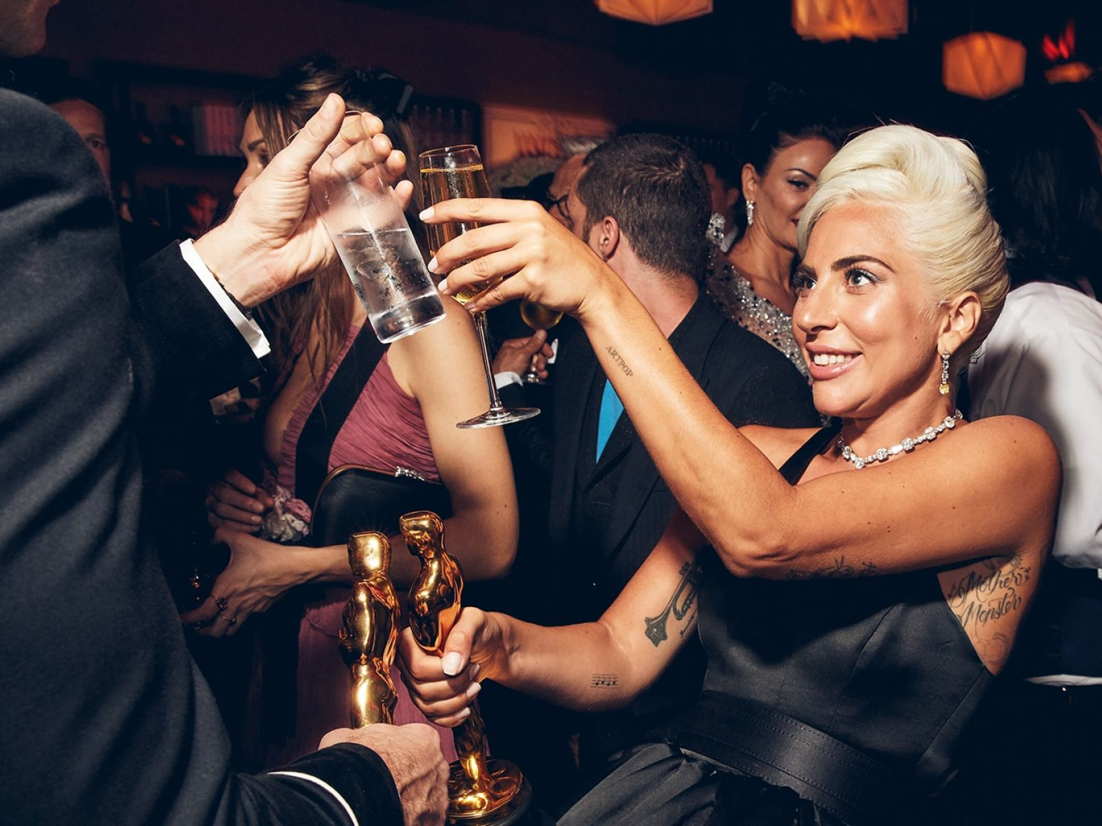 """""""Mark Ronson and Lady Gaga share the gold, 2019"""" from """"Vanity Fair: Hollywood Calling""""at the Annenberg Space for Photography"""