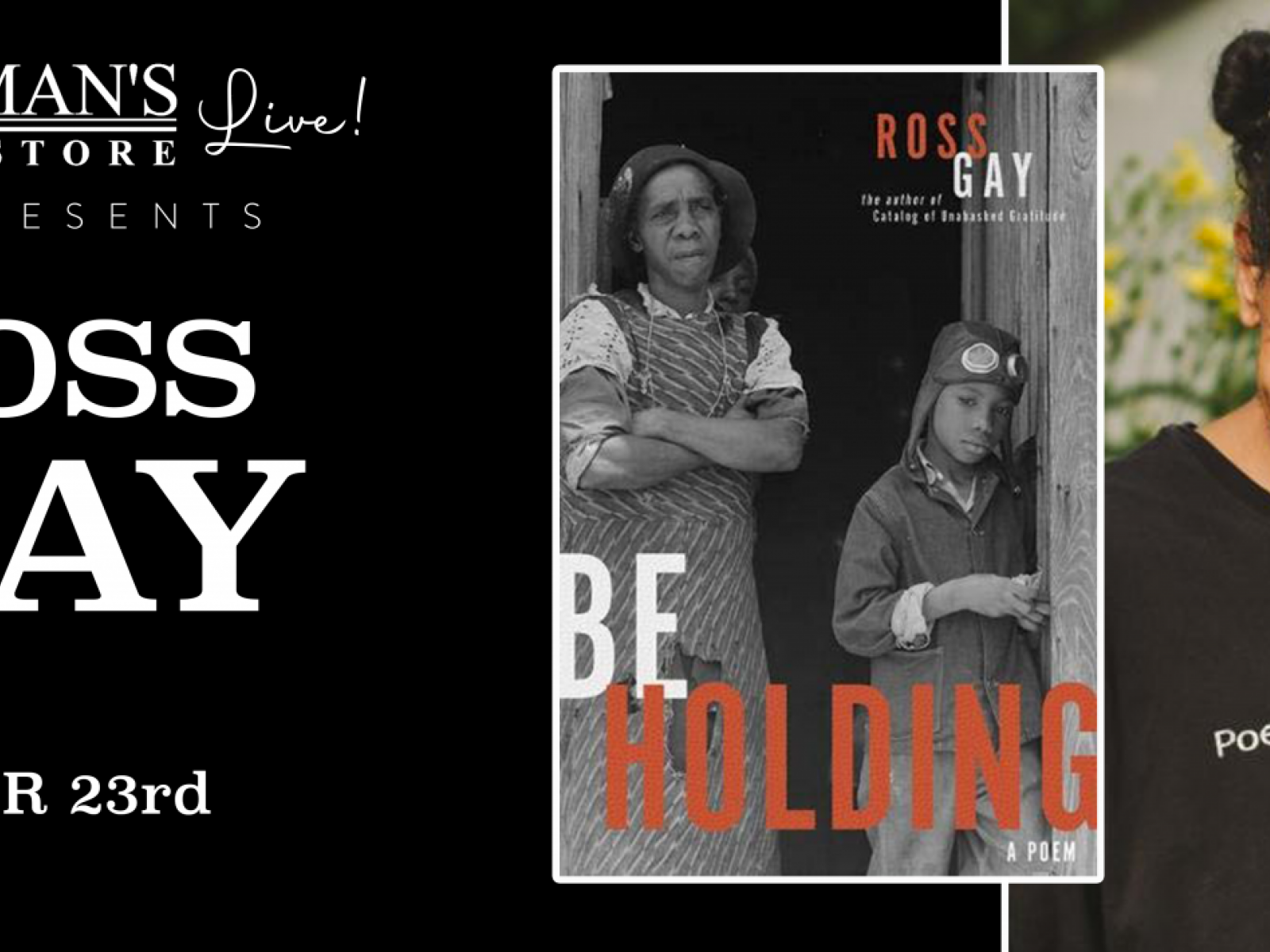 Main image for event titled Vroman's Live - Ross Gay presents Be Holding: A Poem