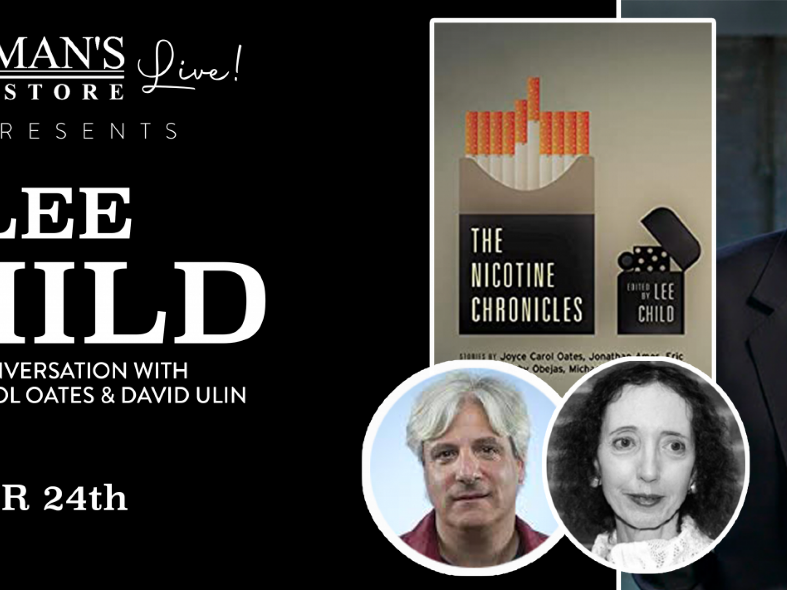Main image for event titled Vroman's Live -Lee Child, with contributors Joyce Carol Oates and David L. Ulin, discusses The Nicotine Chronicles