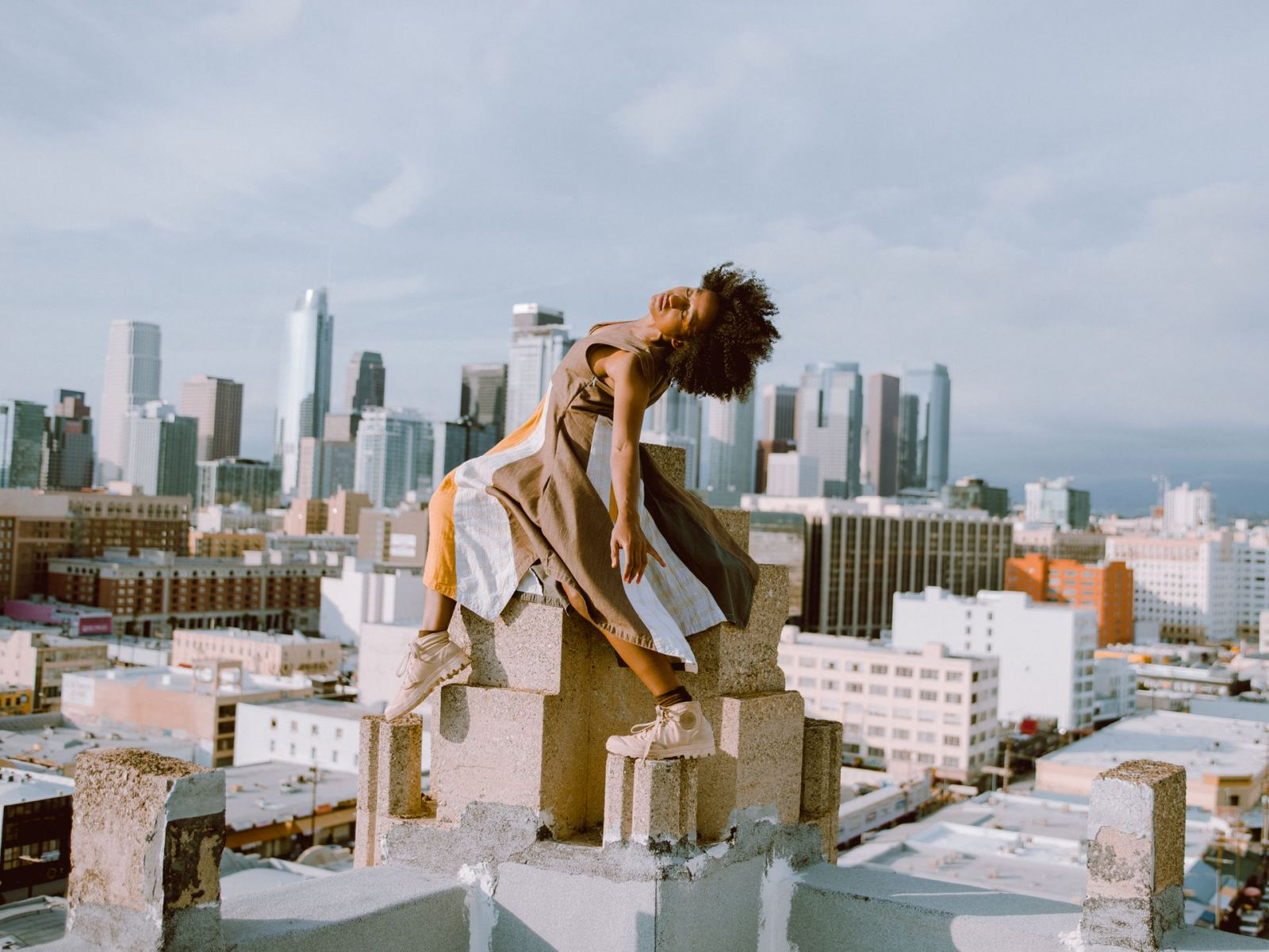 Dancer Himerria Wortham with DTLA as her backdrop