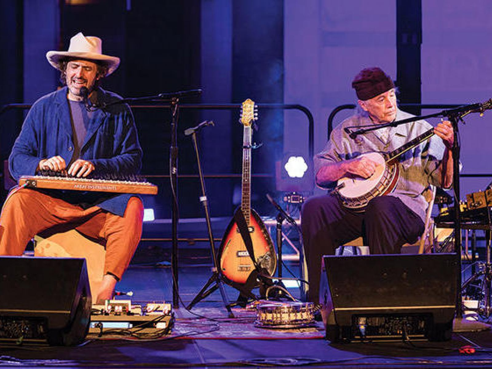 Joachim Cooder with his father Ry Cooder, photo by Larry Sandez