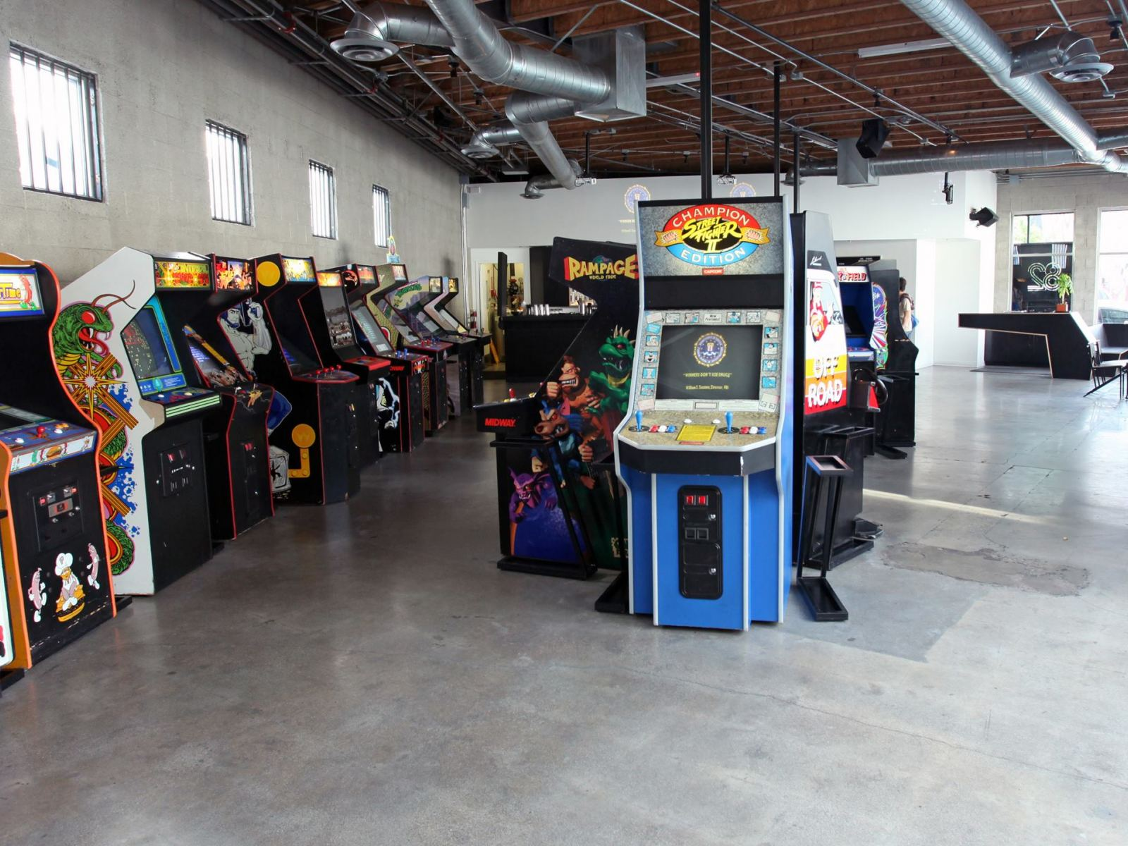 Arcade games at EightyTwo in the DTLA Arts District