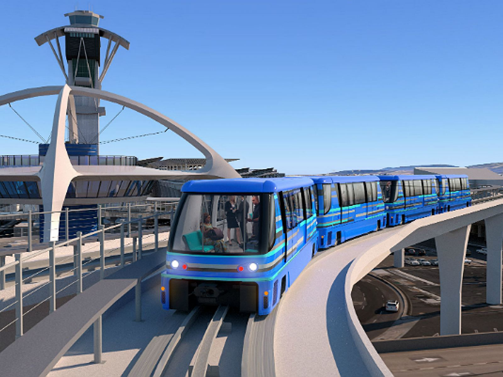Automated People Mover (APM) and Theme Building at LAX | Rendering courtesy of LAWA