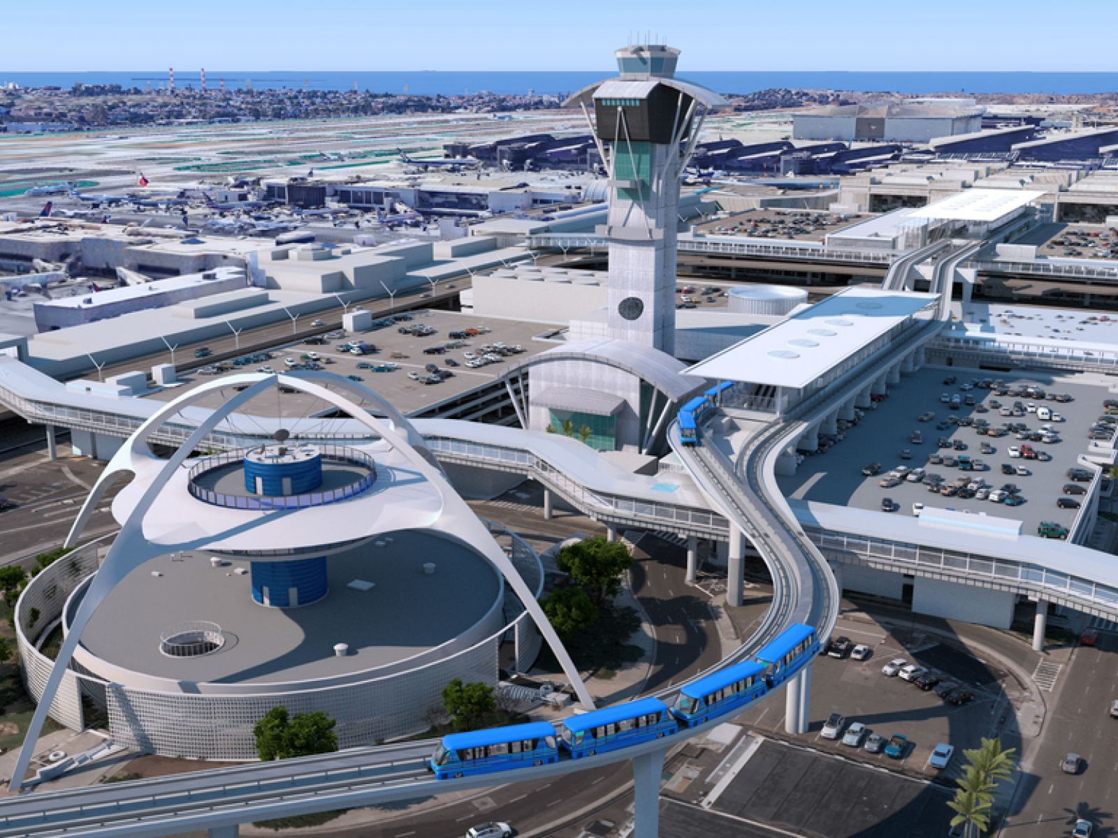 Aerial view of Automated People Mover (APM) at LAX | Rendering courtesy of LAWA