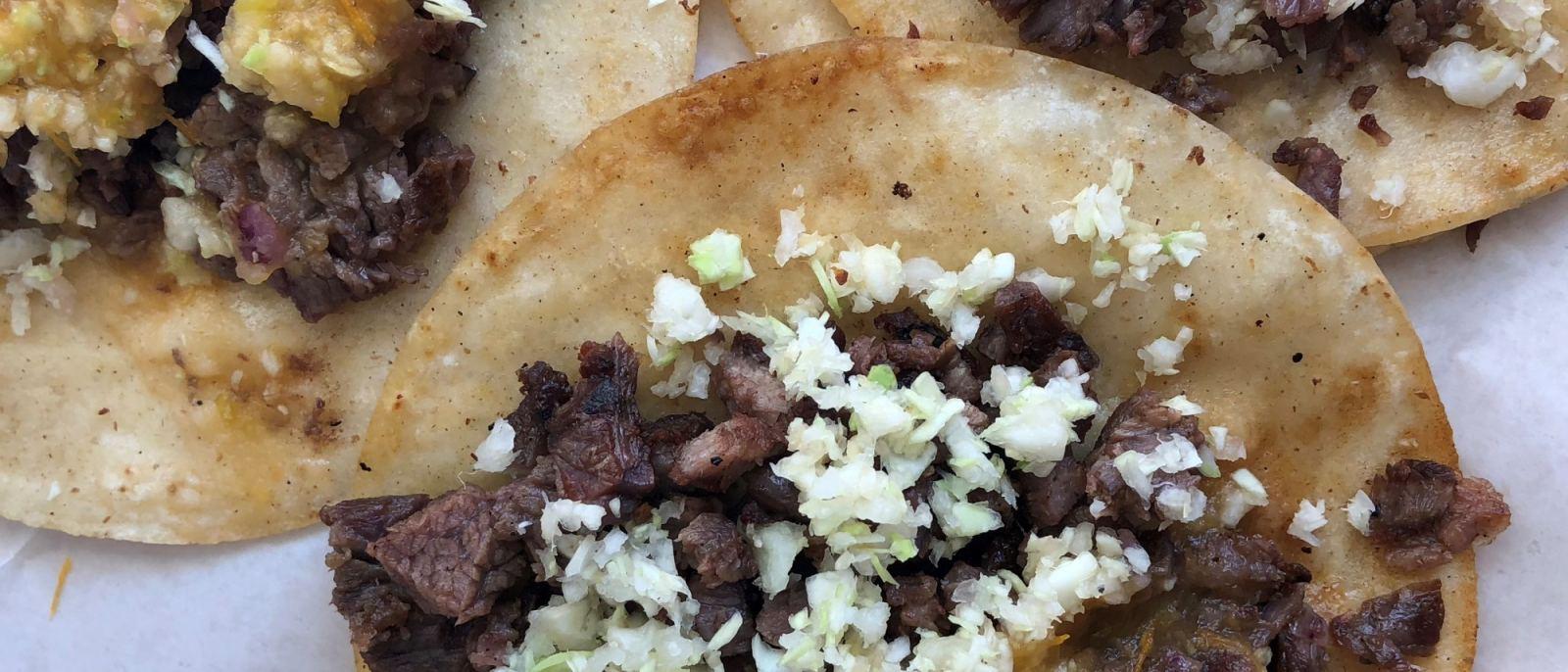 Carne Asada Tacos at Tacos La Carreta