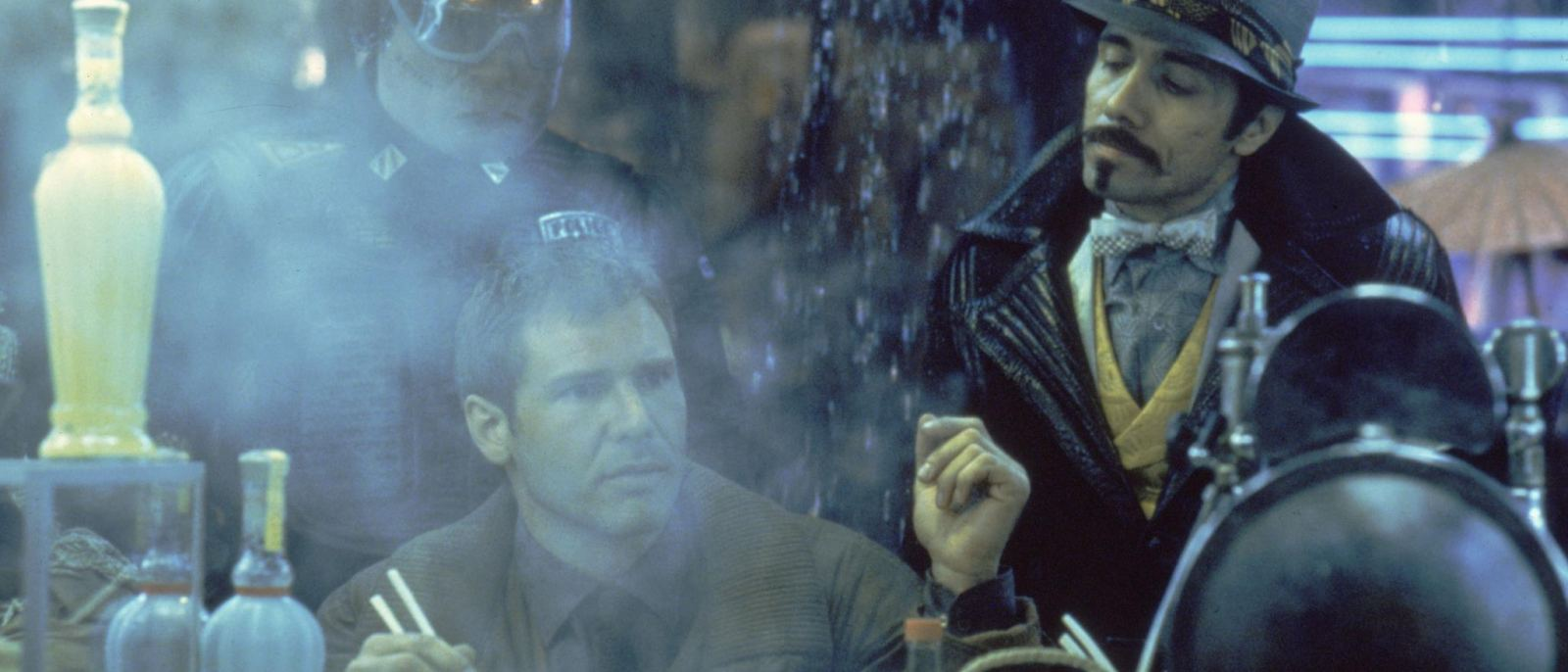 """Rick Deckard and Gaff at the White Dragon Noodle Bar in Blade Runner (1982) 