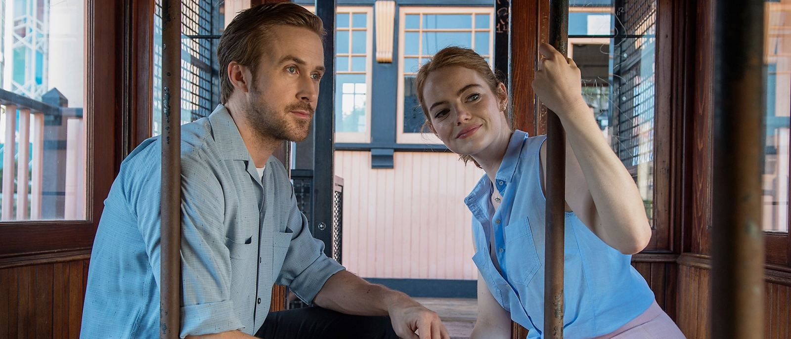 "Ryan Gosling and Emma Stone at Angels Flight in ""La La Land"""