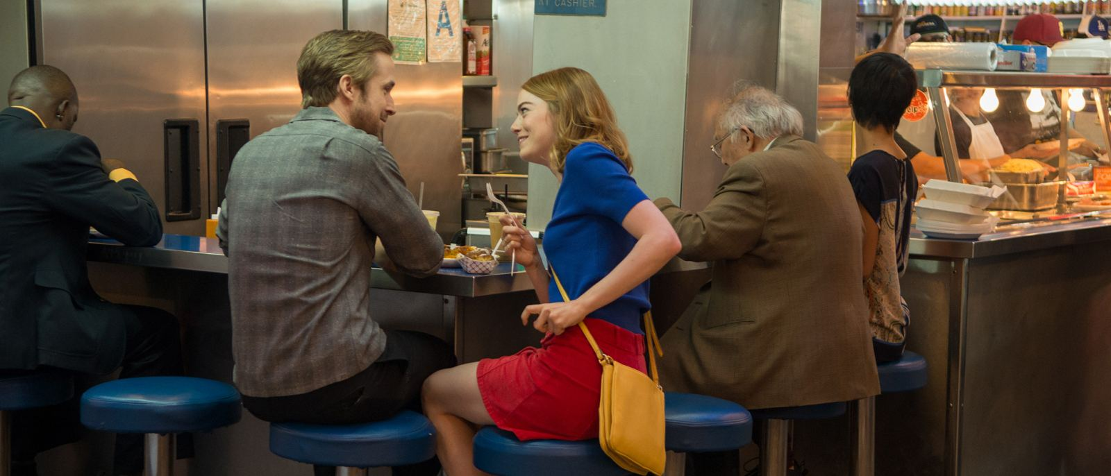 "Ryan Gosling and Emma Stone at Grand Central Market in ""La La Land"""