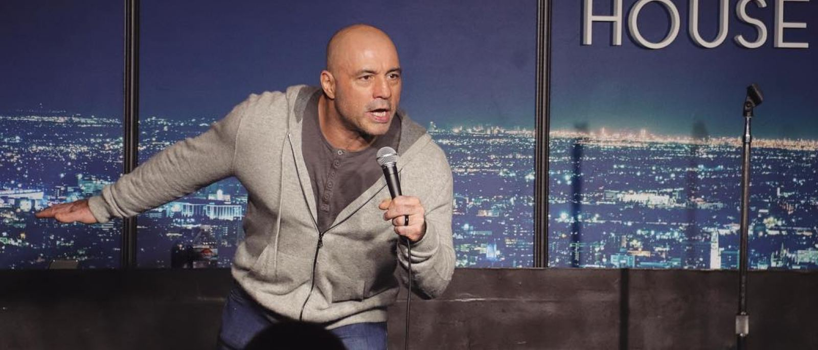 Joe Rogan on stage at The Ice House