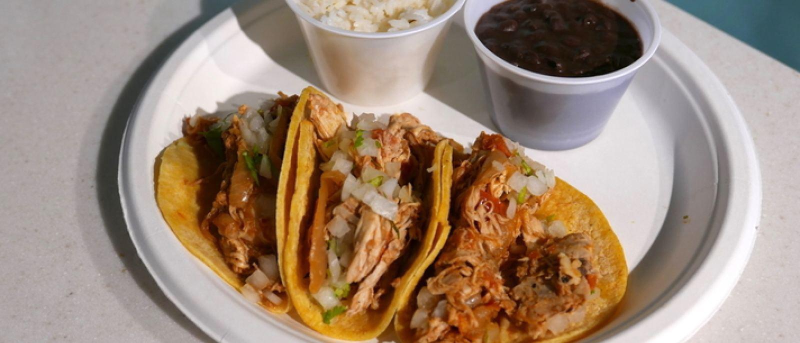 Chicken tinga three-taco platter at Loteria Grill, LAX Terminal 7